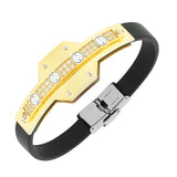 Stainless Steel Black Rubber Silicone Yellow Gold-Tone White CZ Men's Bracelet