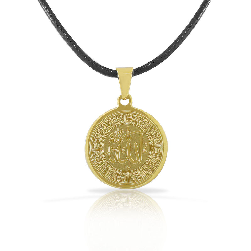 Stainless Steel Yellow Gold-Tone Muslim Islam God Allah Pendant Necklace
