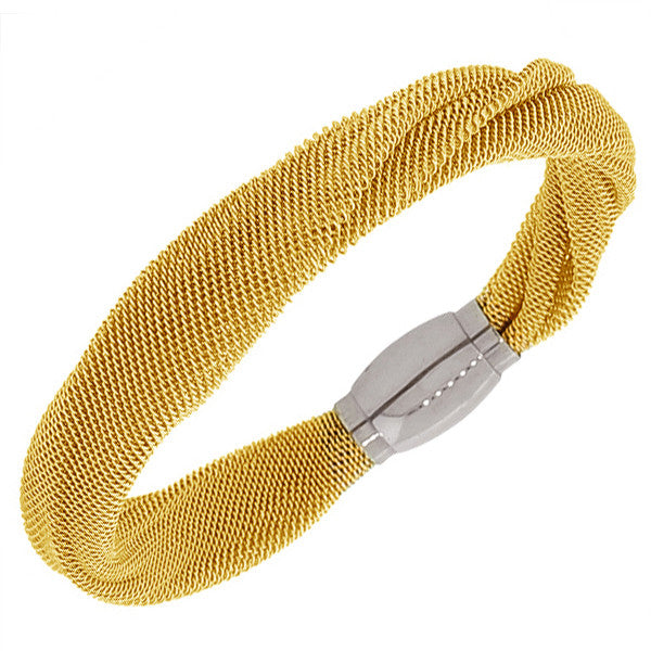 Stainless Steel Two-Tone Mesh Bangle Bracelet