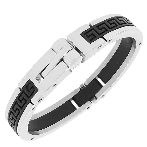Stainless Steel Silver-Tone Black Rubber Silicone Greek Key Handcuff Men's Bracelet