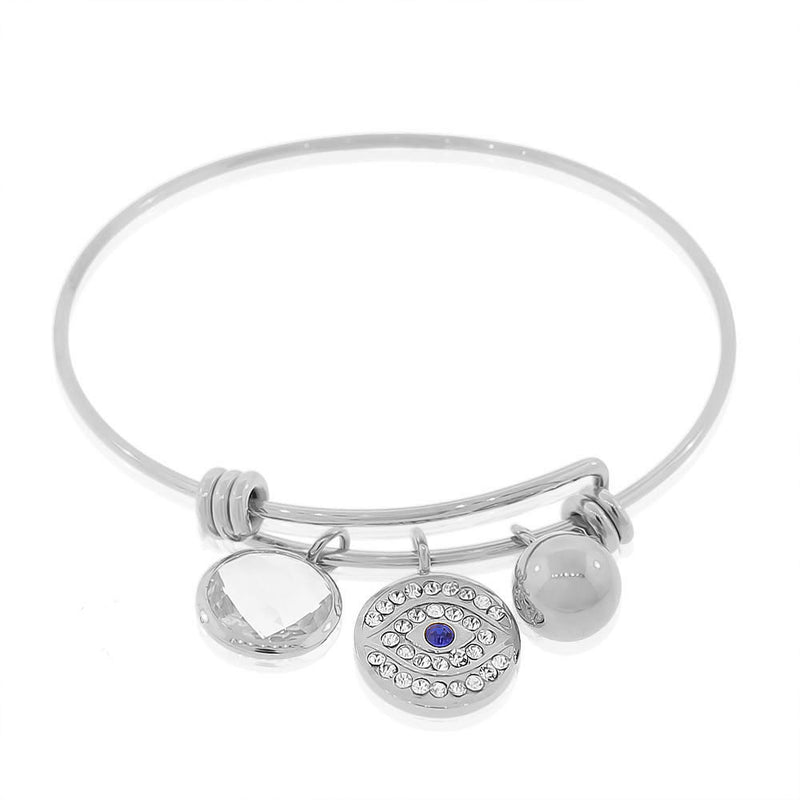 Stainless Steel Silver-Tone White Blue CZ Protection Evil Eye Bangle Bracelet