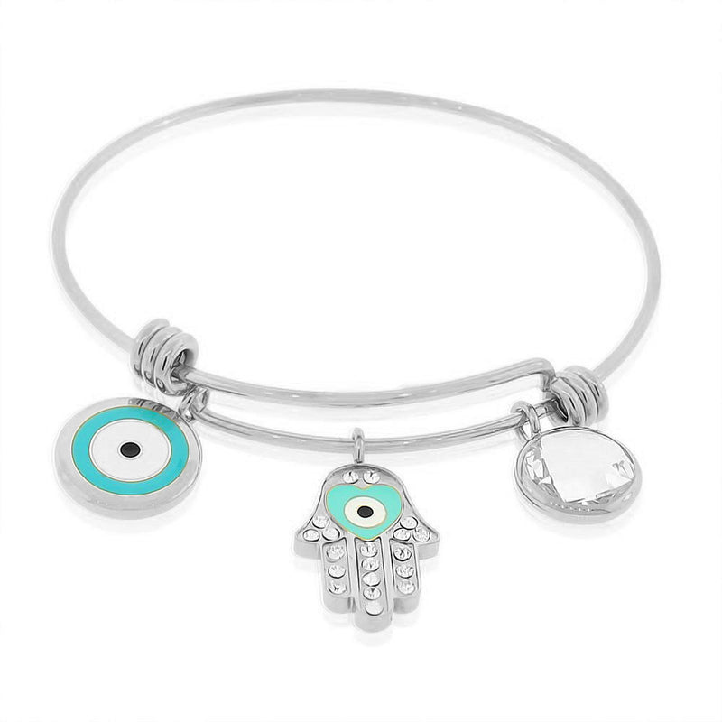 Stainless Steel Silver-Tone Hamsa Evil Eye Bangle Bracelet