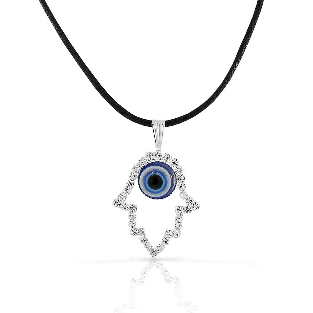 Fashion Alloy Silver-Tone Hamsa Evil Eye Protection White CZ Pendant Necklace