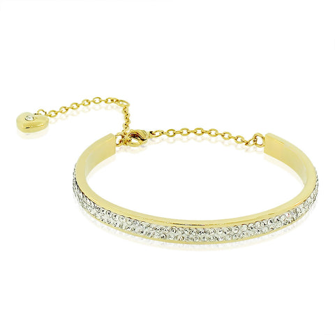 EDFORCE Stainless Steel Yellow Gold-Tone CZ Love Heart Adjustable Bangle Bracelet