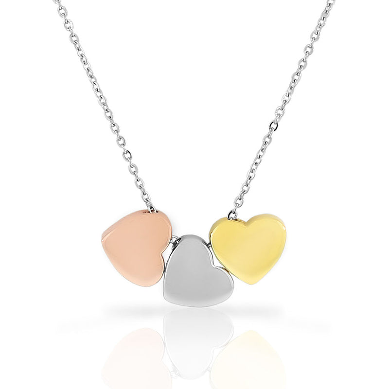 EDFORCE Stainless Steel Gold-Tone Silver-Tone Triple Love Heart Pendant Necklace