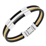 EDFORCE Stainless Steel Black Rubber Silicone Two-Tone Twisted Cable Rope Men's Bracelet