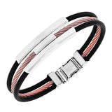 EDFORCE Stainless Steel Black Rubber Silicone Rose Gold-Tone Silver-Tone Twisted Cable Rope Men's Bracelet