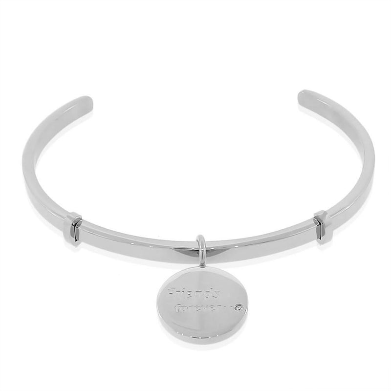 EDFORCE Stainless Steel Silver-Tone CZ Friends Forever Open End Bangle Bracelet