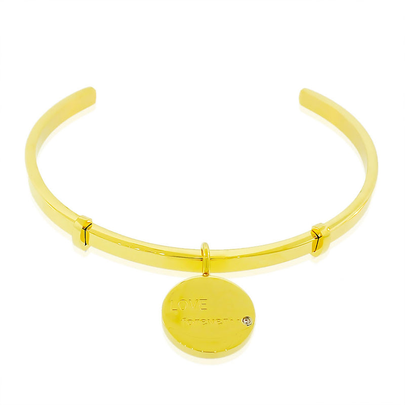 EDFORCE Stainless Steel Yellow Gold-Tone CZ Love Forever Open End Bangle Bracelet