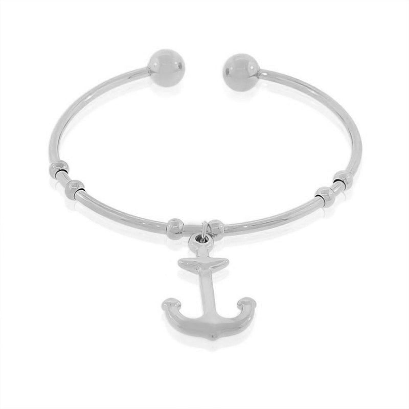 EDFORCE Stainless Steel Silver-Tone Anchor Open End Bangle Bracelet