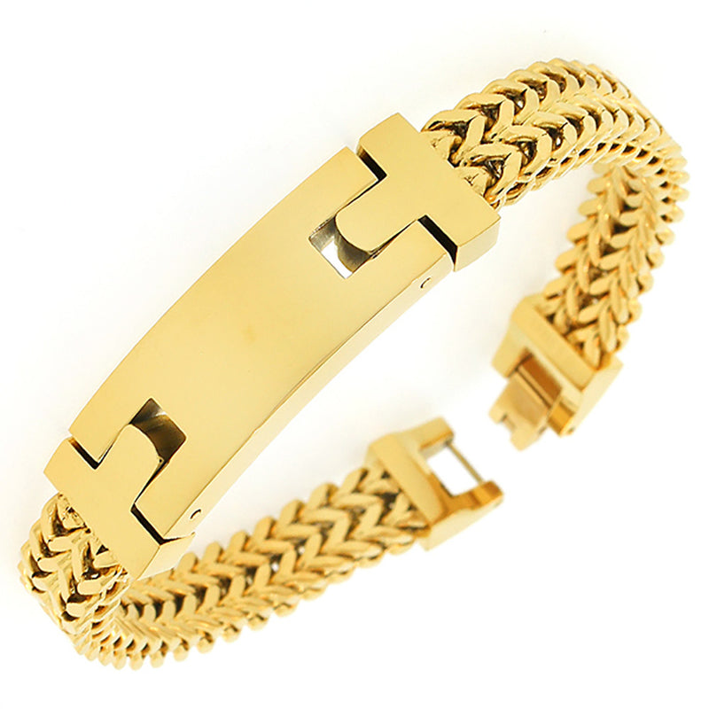 Stainless Steel Yellow Gold-Tone Double Wheat Chain Classic Men's Bracelet