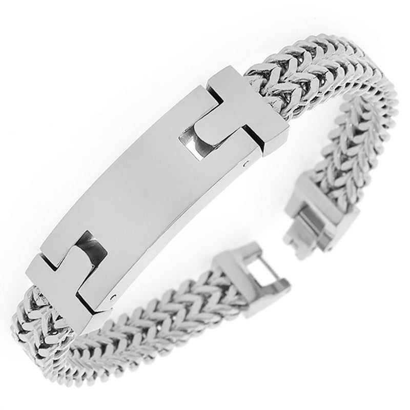 Stainless Steel Silver-Tone Double Wheat Chain Classic Men's Bracelet