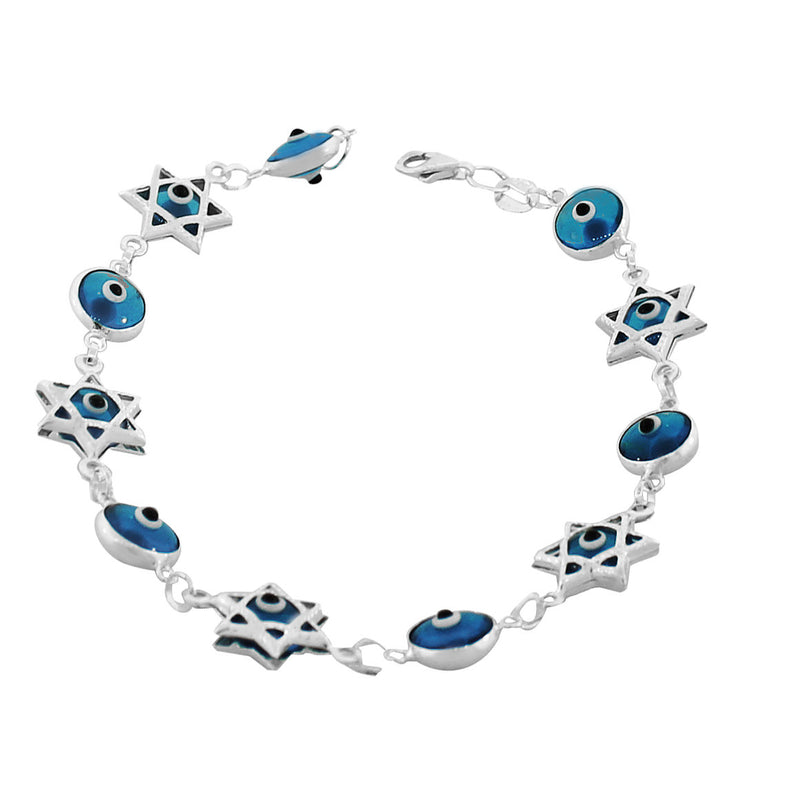 925 Sterling Silver Glass Blue Evil Eye Star of David Link Chain Bracelet