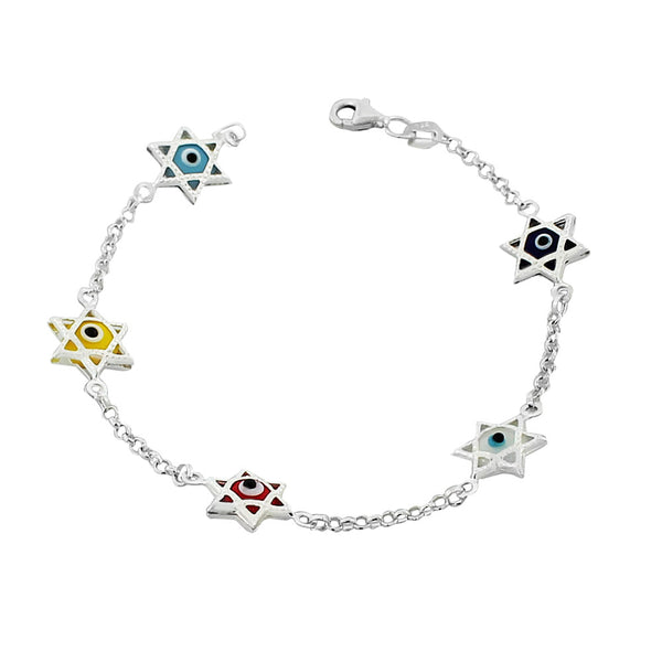 925 Sterling Silver Glass Multicolor Evil Eye Star of David Link Chain Bracelet