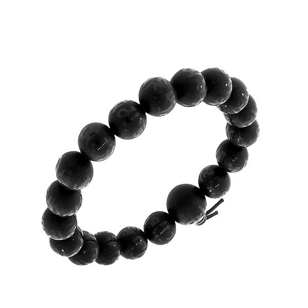 Black Beaded Mala Buddhist Stretch Cord Matte Polished Bracelet