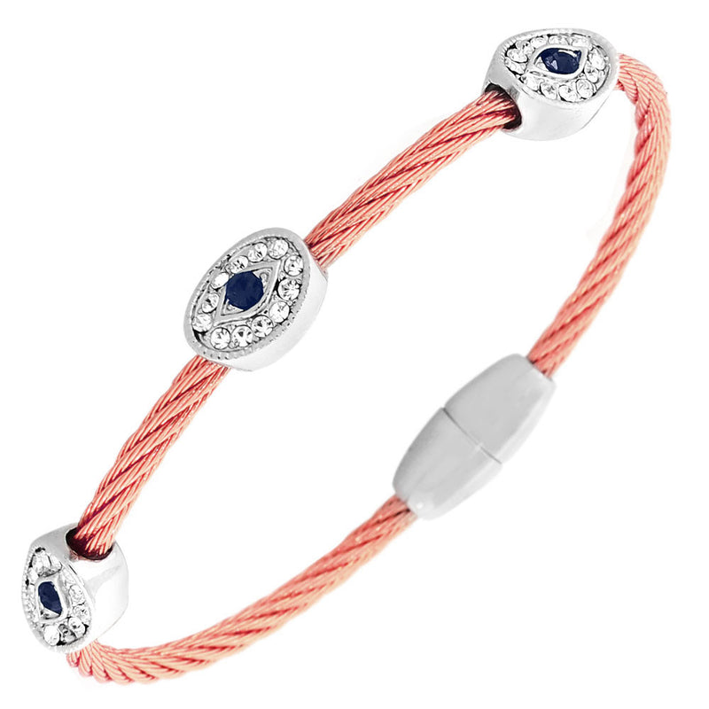 Fashion Alloy Rose Gold-Tone Silver-Tone White Blue CZ Evil Eye Bangle Bracelet