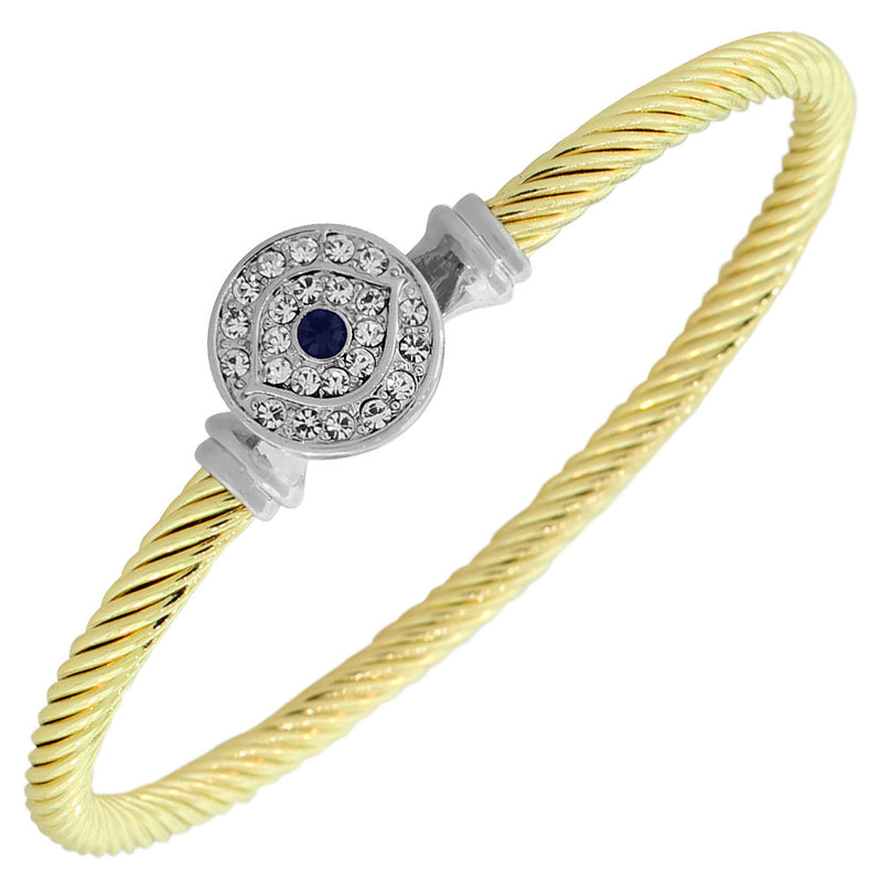 Fashion Alloy Two-Tone White Blue CZ Evil Eye Bangle Bracelet