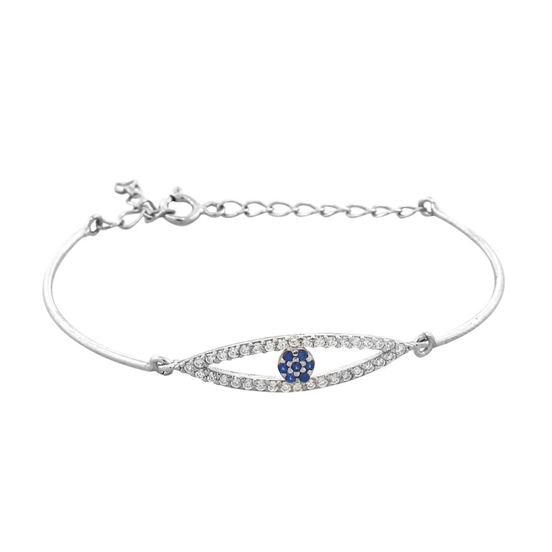 925 Sterling Silver White Blue Evil Eye Protection Link Chain Bracelet
