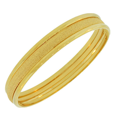 Stainless Steel Yellow Gold-Tone Three Stackable Bangles Bracelets Set