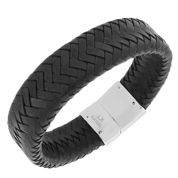 Stainless Steel Black Leather Silver-Tone Wristband Men's Bracelet