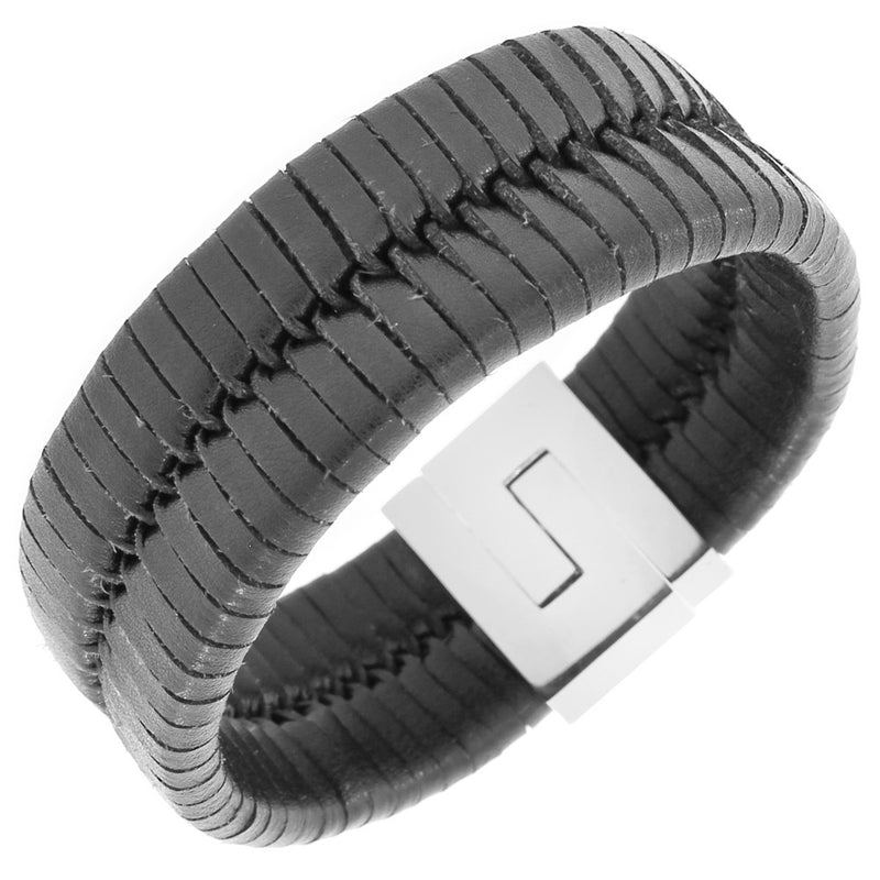 Stainless Steel Black Leather Silver-Tone Wide Men's Wristband Bracelet