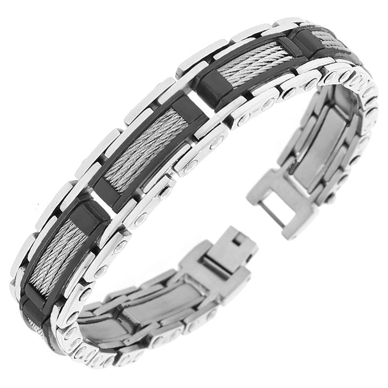 Stainless Steel Black Silver-Tone Twisted Cable Rope Classic Men's Link Bracelet