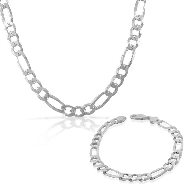 925 Sterling Silver Mens Classic Figaro Link Chain Necklace Bracelet Set - Made in Italy
