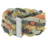 Fashion Alloy Two-Tone Wide Wristband Mesh Bracelet