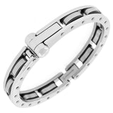 Stainless Steel Silver-Tone Black Handcuff Men's Bracelet