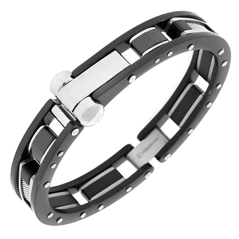 Stainless Steel Black Silver-Tone Mesh Handcuff Men's Bracelet