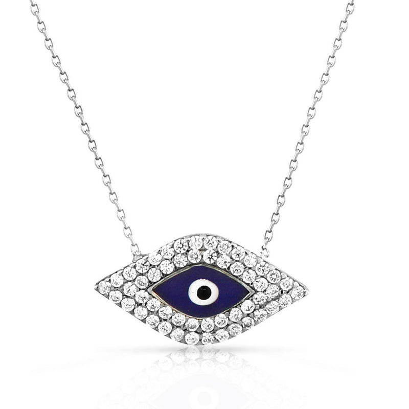 925 Sterling Silver Blue Evil Eye White CZ Protection Pendant Necklace