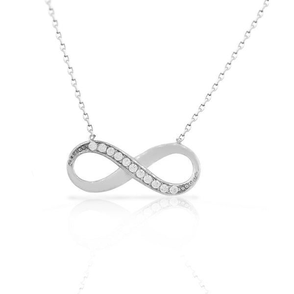 925 Sterling Silver White CZ Love Infinity Necklace with Chain