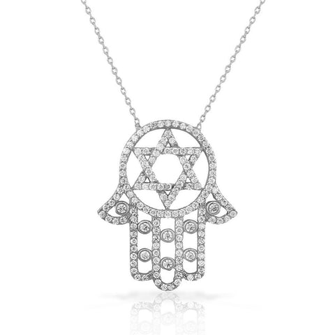 925 Sterling Silver White CZ Hamsa Star of David Necklace