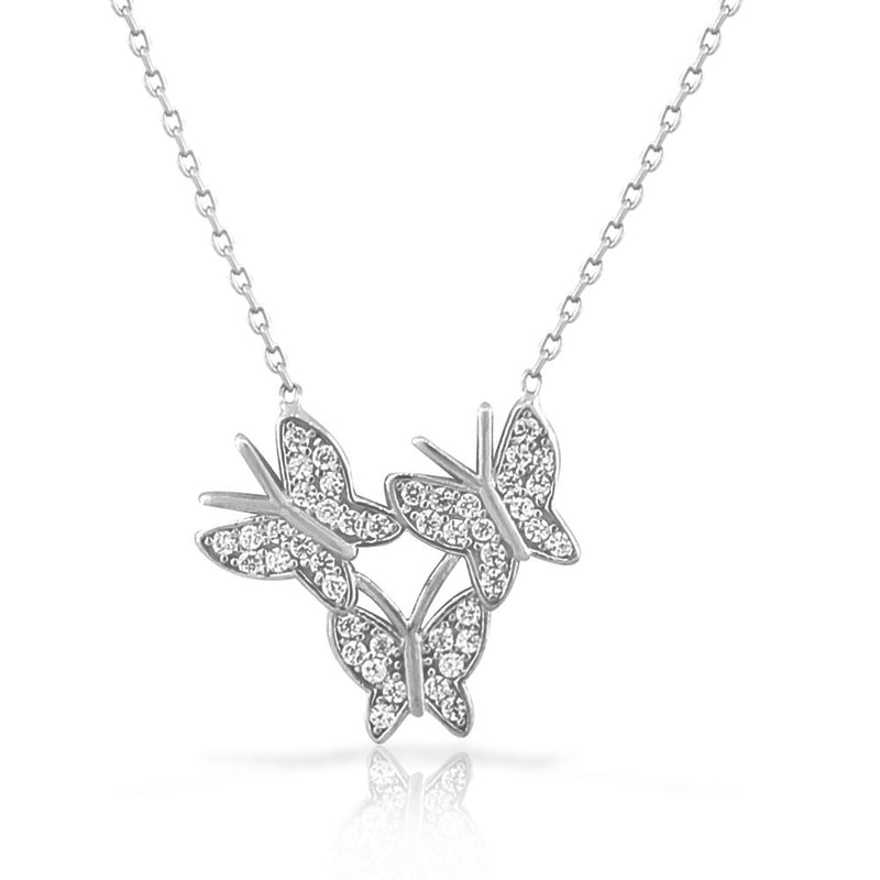 925 Sterling Silver White CZ Three Triple Butterflies Pendant Necklace with Chain