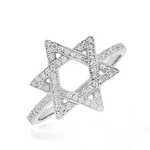 925 Sterling Silver White Clear CZ Star of David Ring Band - Size 9