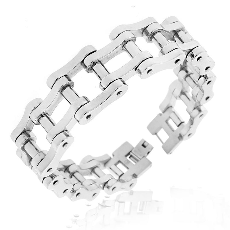 Stainless Steel Silver-Tone Bike Chain Link Mens Bracelet
