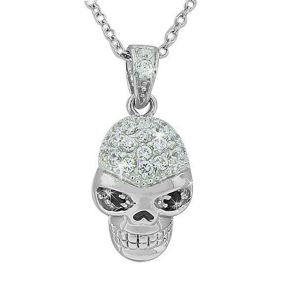 Sterling Silver Skull Charm White Black CZ Pendant Necklace