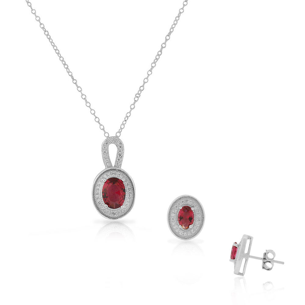 925 Sterling Silver Red Ruby-Tone CZ Oval Stud Earrings Pendant Necklace Set