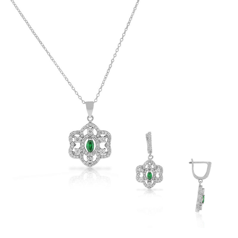 925 Sterling Silver Green Emerald-Tone CZ Chandelier Dangle Earrings Pendant Necklace Set