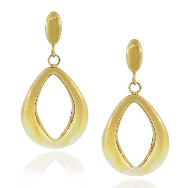 Stainless Steel Yellow Gold-Tone Large Dangle Earrings