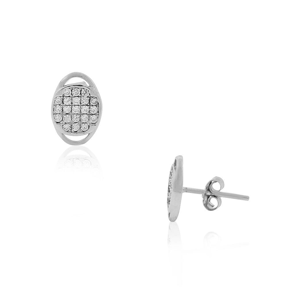 925 Sterling Silver White Clear CZ Oval Stud Earrings