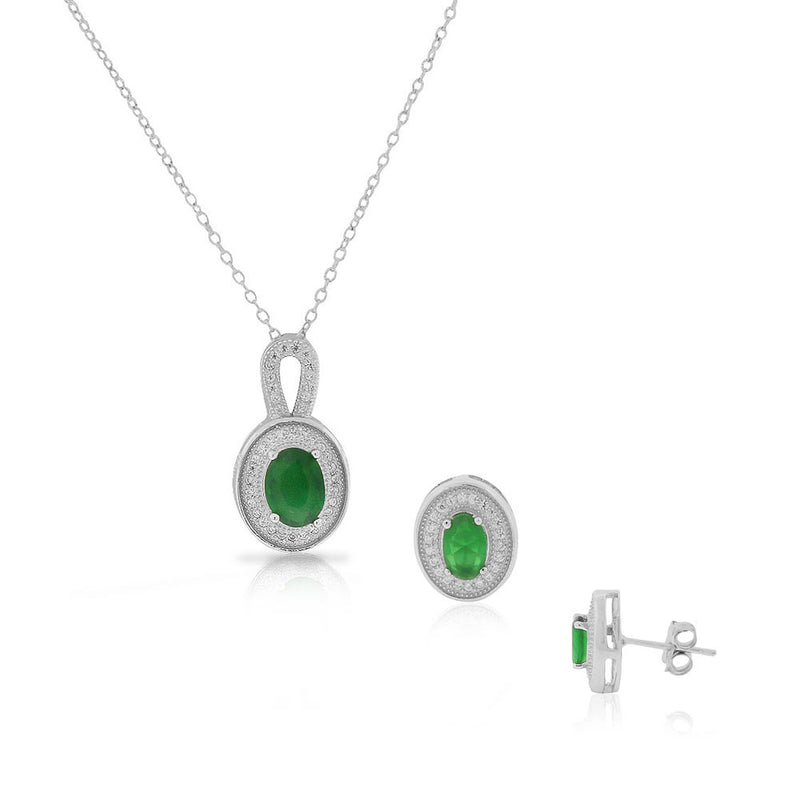 925 Sterling Silver Green Emerald-Tone CZ Oval Stud Earrings Pendant Necklace Set