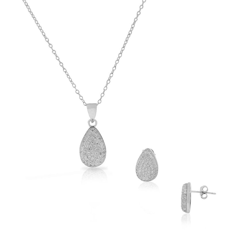 925 Sterling Silver White Clear CZ Teardrop Stud Earrings Pendant Necklace Set