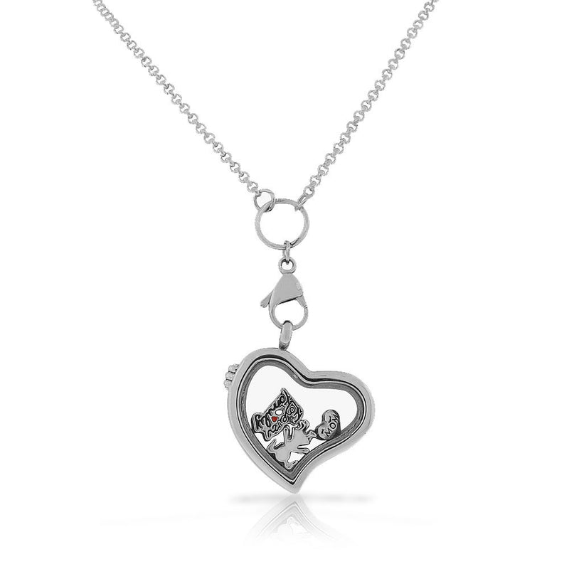 EDFORCE Stainless Steel Silver-Tone Love Heart Family Locket Pendant Necklace - Charms Included