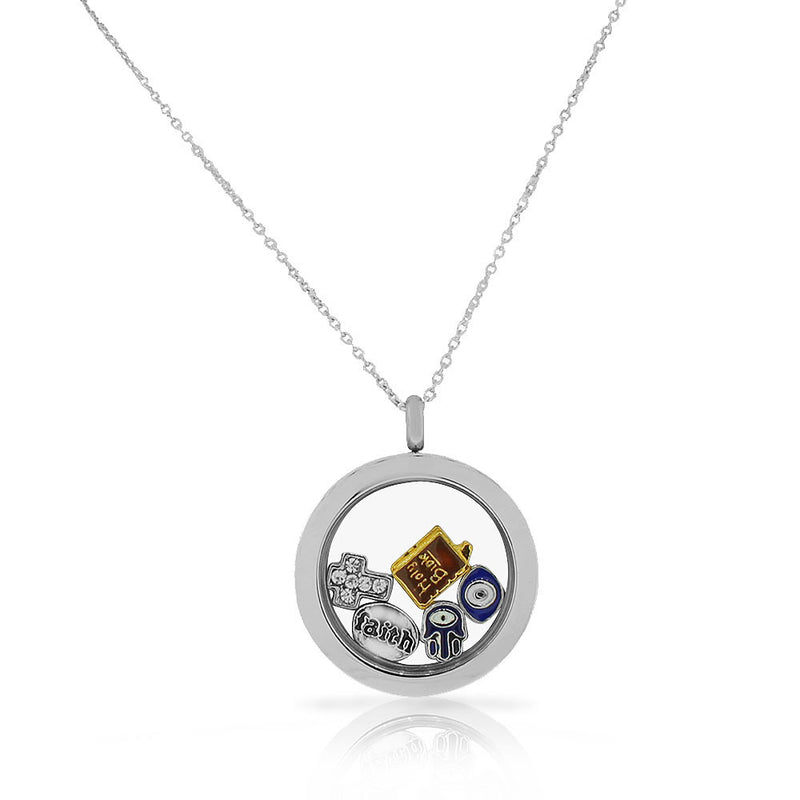 EDFORCE Stainless Steel Silver-Tone Faith Religious Locket Pendant Necklace - Charms Included