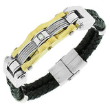 Stainless Steel Black Leather White CZ Two-Tone Wristband Men's Bracelet