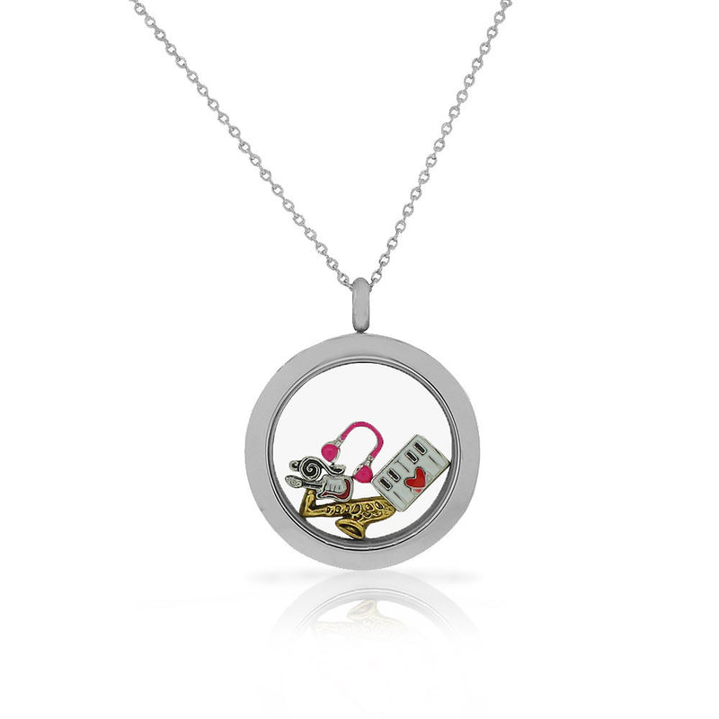 EDFORCE Stainless Steel Music Piano Saxophone Guitar Locket Pendant Necklace - Charms Included