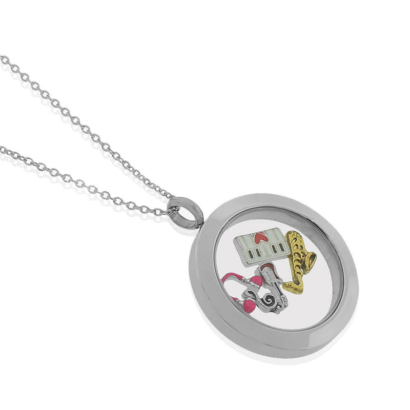 Floating Music Charm Necklace