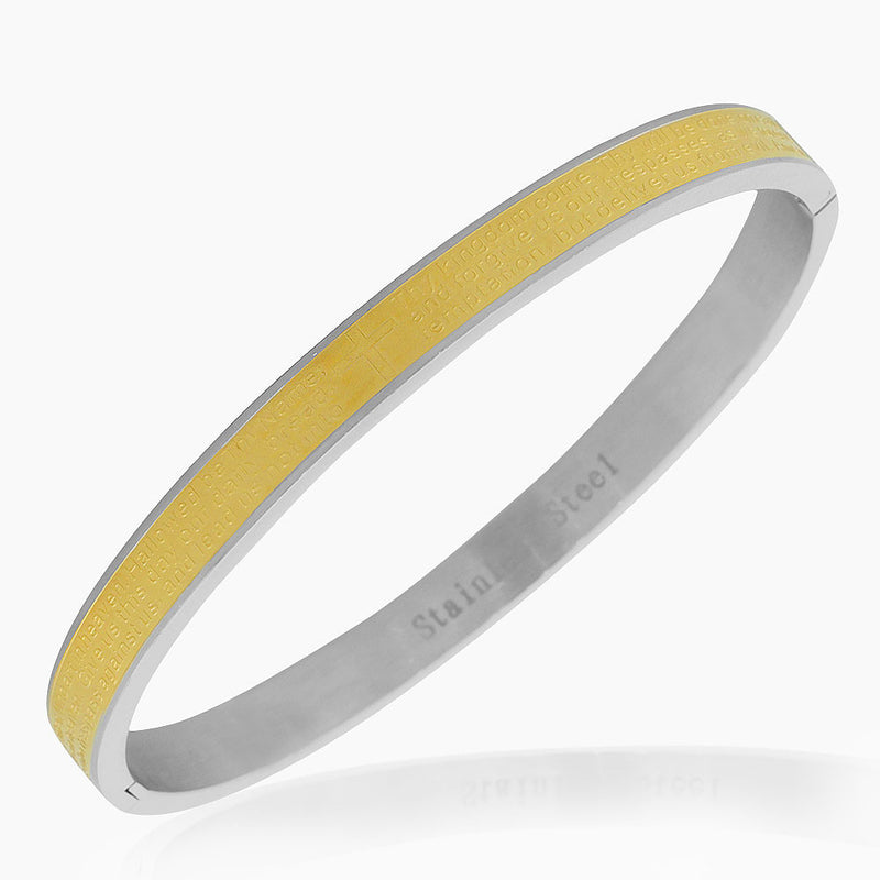Stainless Steel Yellow Gold-Tone Silver-Tone Lords Prayer in English Bangle Bracelet