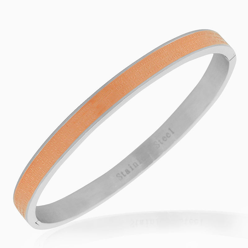 Stainless Steel Rose Gold-Tone Silver-Tone Lords Prayer in English Bangle Bracelet